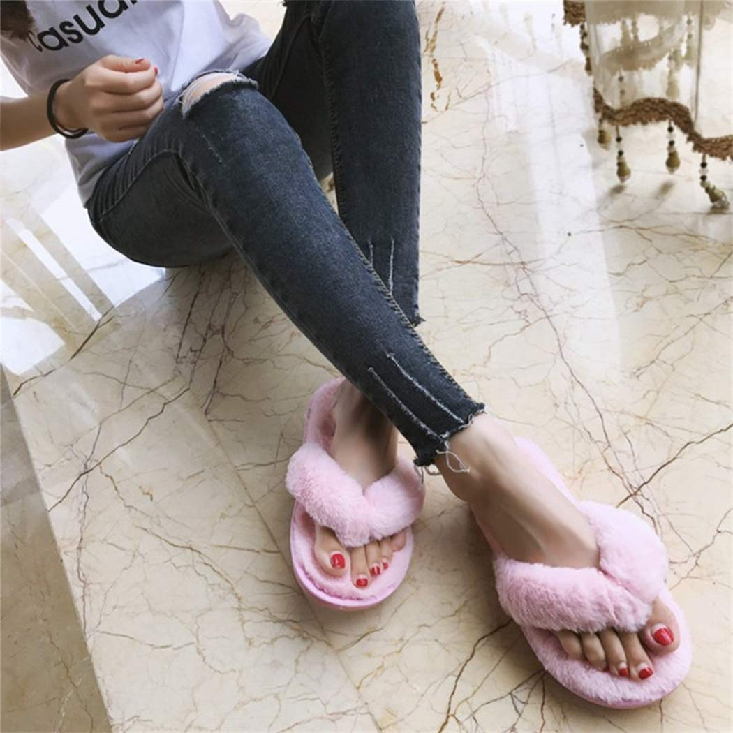 Nafanio Winter Flip Flops Women Home Slippers Faux Fur Warm Woman Slip on Flats Female Fur Pink Shoes