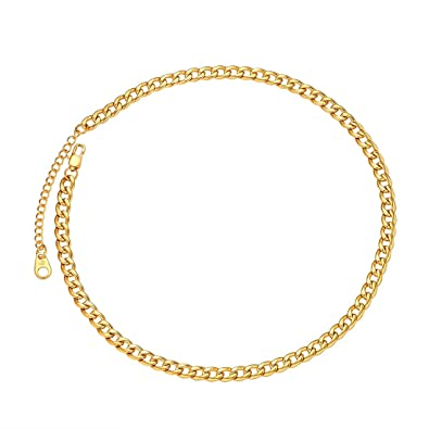 6636276f1c6b1 U7 Men Women Miami Cuban Chain with Customized Stamp Service 5/7/9/12/15mm  Wide Stainless Steel 18K Gold Plated Curb Necklace, Length 14