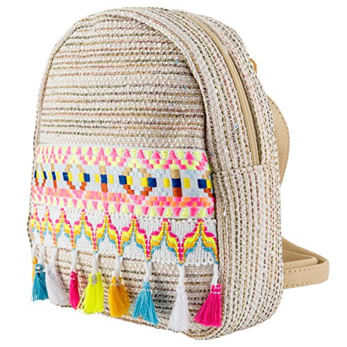 (Small Backpack with Colorful Tassel Ethnic Bohemia Design Shoulder Bag Schoolbag Daypack Knapsack for Kids Girls Women Travel Daily Beach Birthday Gifts (A))