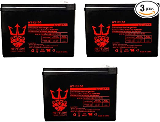 by Neptune 12volt 10amp 3 Pack 12V 10Ah Universal Sealed Lead Acid Deep-Cycle Battery