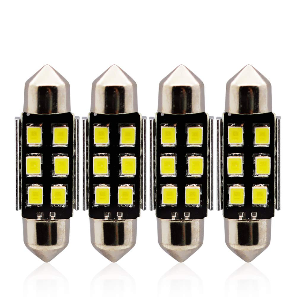 1.22 LncBoc 31mm Festoon LED C5W Bulbs 6-SMD 2835 LED White Replacement Bulb with Aluminium Sink for Car Interior Dome Light License Plate Trunk Light DC 12V Pack of 4