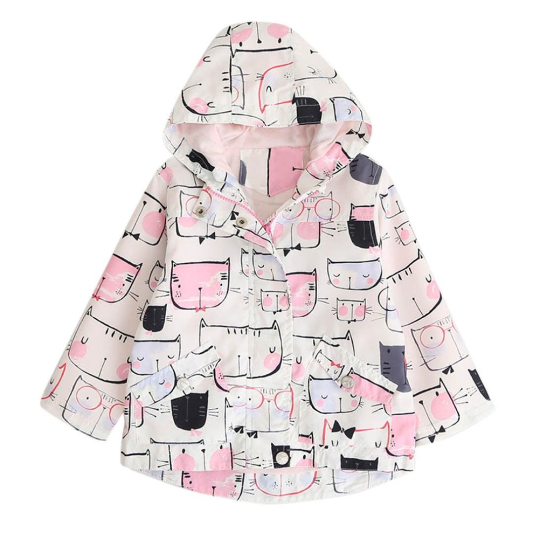 Leegor Kids Girls Cartoon Cat Print Hooded Coat Cute Zipper Jacket Trench Outwear (5T, Pink)