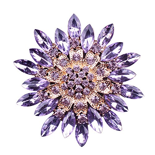 Happy Hours - Stylish Rhinestone Crystals Brooch for Women Girls Ladies / Vintage Gold Plated Imitation Floral Drop Broach Pins(Purple)