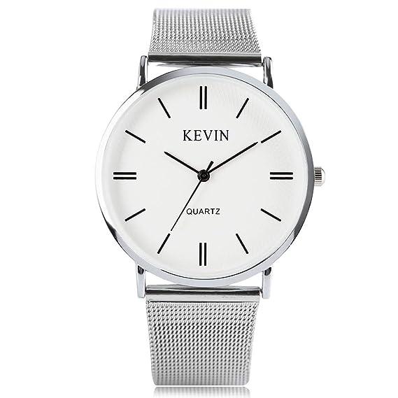 de204b7d059a3d Kevin orologio da uomo, moda ultra sottile in acciaio INOX argento Band orologio  per uomini donne quarzo analogico orologi da polso: Amazon.it: Orologi
