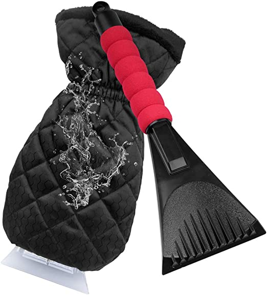 Waterproof Snow Remover Glove with Warm Thick Soft Fleece Car Windshield Snow Scraper Mitten with Durable Handle iSiLER Ice Scraper Mitt