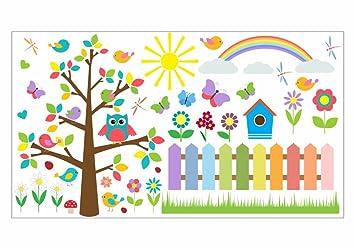 nikima - 021 Wandtattoo Wandbild Kinderzimmer bunte Eule auf ...