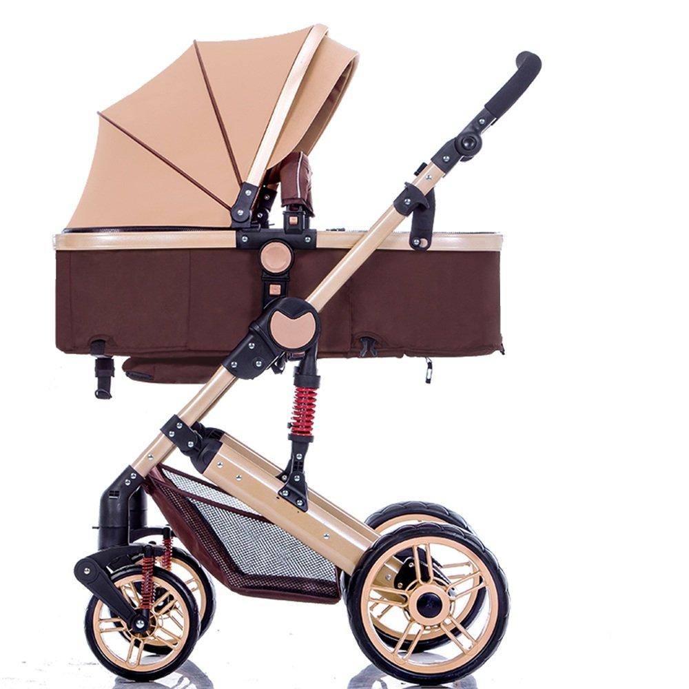 HAIZHEN マウンテンバイク ベビーシッターベビーカーベビーベビーカー新生児の子供ベビーカー0-36ヶ月古いベビーカーは耐候性のカバーと4色のスチールフレーム 新生児 B07C88GG81 ブラウン ぶらうん ブラウン ぶらうん
