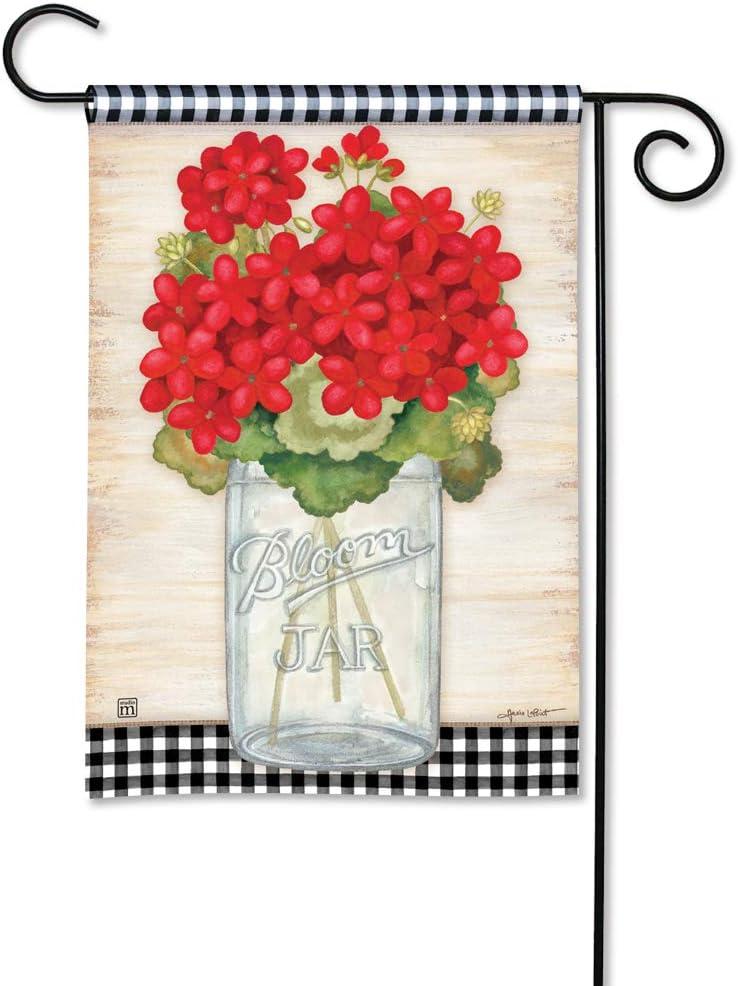 "Evergreen Summer Geraniums With Bow Burlap Garden Flag 12.5/"" X 18/"""