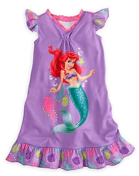 Amazon.com: Disney Store Girls Princess Ariel Nightgown Nightshirt ...