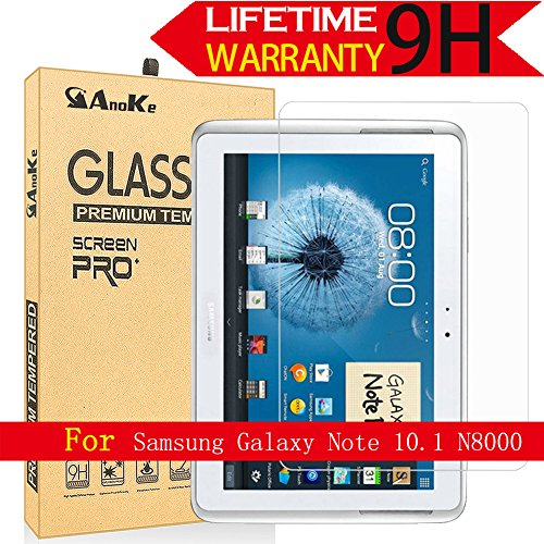 Galaxy Note 10.1 / Galaxy Tab 2 10.1 Glass Screen Protector,(N8000 P5100 2012 Model) AnoKe(0.3mm 9H) Tempered Glass Screen Protector Film Sheild for N8000 Glass