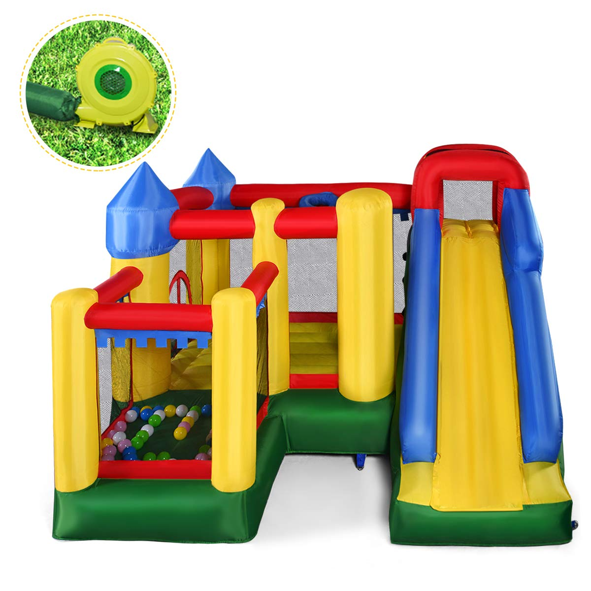 Giantex Mighty Inflatable Bounce House Castle Jumper Moonwalk Bouncer w/ 680W Blower by Giantex