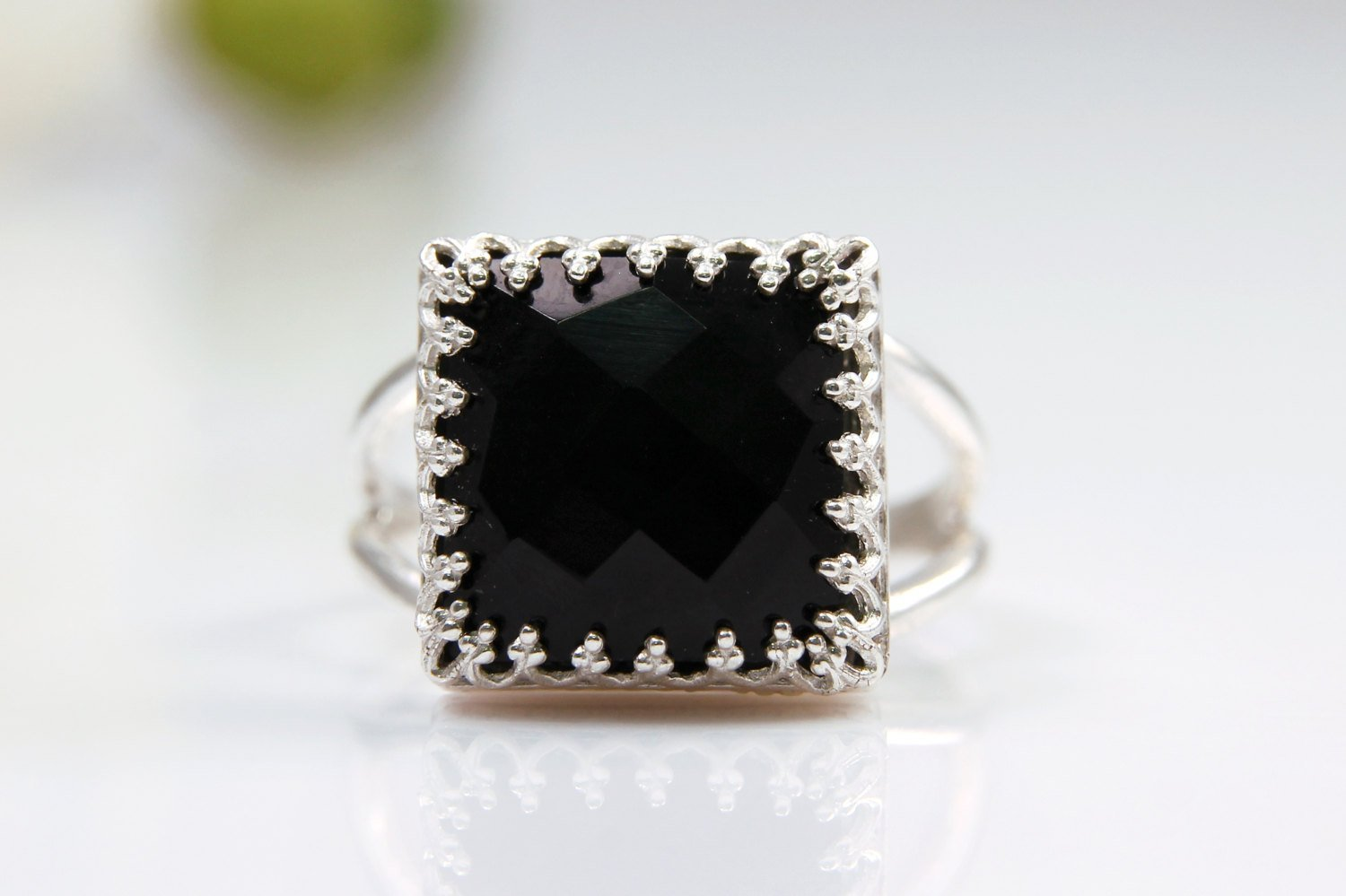 sterling silver ring, black onyx ring, silver gemstone ring, vintage ring, unique gifts, mother ring, mom gift, mom jewelry