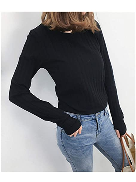 cc75c051ae Tops Tees with Thumb Hole Women Long Sleeve Tee Shirts Essential Layering T  Shirt Femme Black