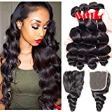VIPbeauty Virgin Loose Wave Hair Brazilian 4 Bundle Deals With Free Part Closure Natural Black 100% Unprocessed Human Hair 95-100g/pc(20 22 24 26 with 16) Review