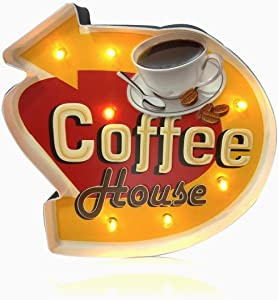 FIUNED Coffee Wall Decorations,Retro Wall Decor,Metal Vintage Handmade Marquee Embossed Tin Decor,Wall Hanging Sign,for Apartment,Home,Bar or Cafe Wall Decoration–Battery Operated (Coffee Shop)