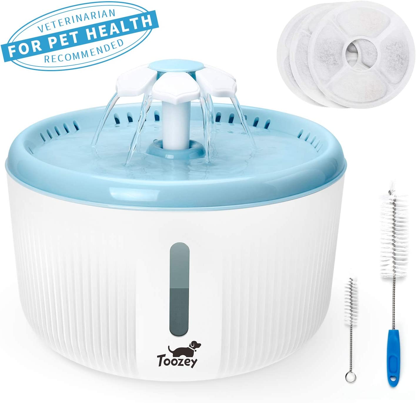 Toozey Cat Water Fountain, 2L Pet Fountain with Water Level Window and 3 Replacement Filters, Automatic Super Quiet Cat Water Dispenser, Dog Water Fountain, Pet Water Fountain for Cats and Dogs