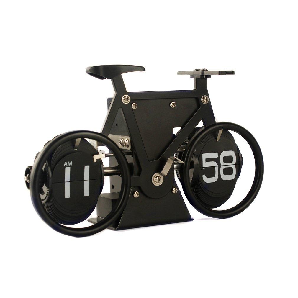 Flip Clock, Bicycle Auto Flip Down, 8''x5''x2.5'' Vintage Retro Style Fashion, Quartz, Quiet, Silent, Noiseless, Decorative for Office, Home, Kitchen, Bar, Modern Living Room Decor (Dark Knight Cycle)