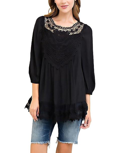 BIRAN Camisetas Mujer Verano Basicas Elegantes Vintage Encaje Splicing Sencillos Color Solido Suelto 3/4