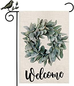 AENEY Welcome Lamb's Ear Grapevine Wreath Garden Flag 12.5 x 18 Inch Vertical Double Sized Farmhouse Burlap Flag Garden Yard Lawn Outdoor Decoration