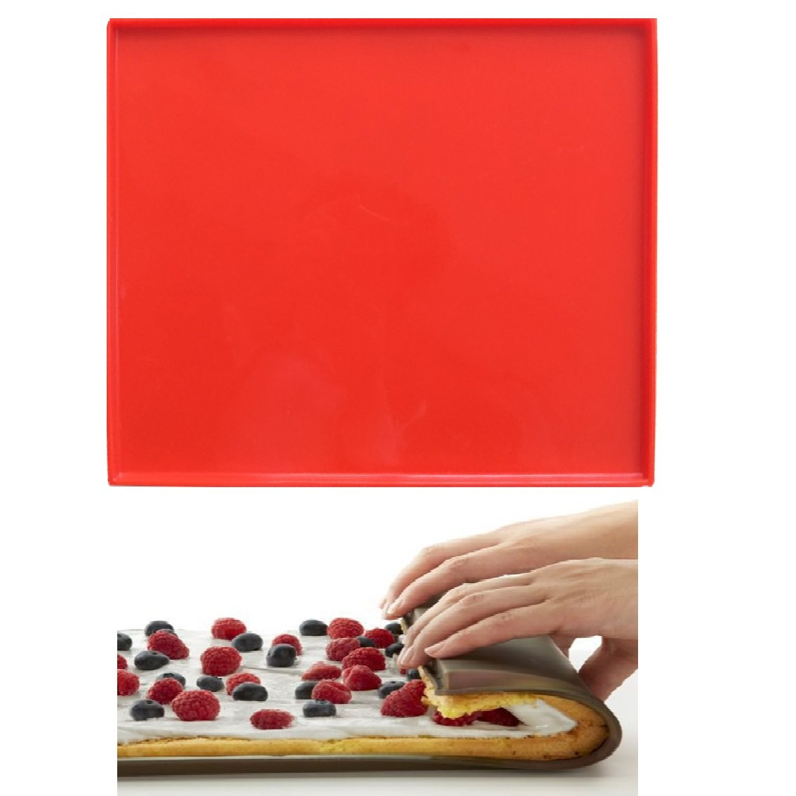 Swiss Roll Cake Mat Flexible Baking Tray Silicone Pizza Cookies Mold Silicone Baking Mat Pizza Pan Pastry Pad L-12inch W-11inch Mity Rain