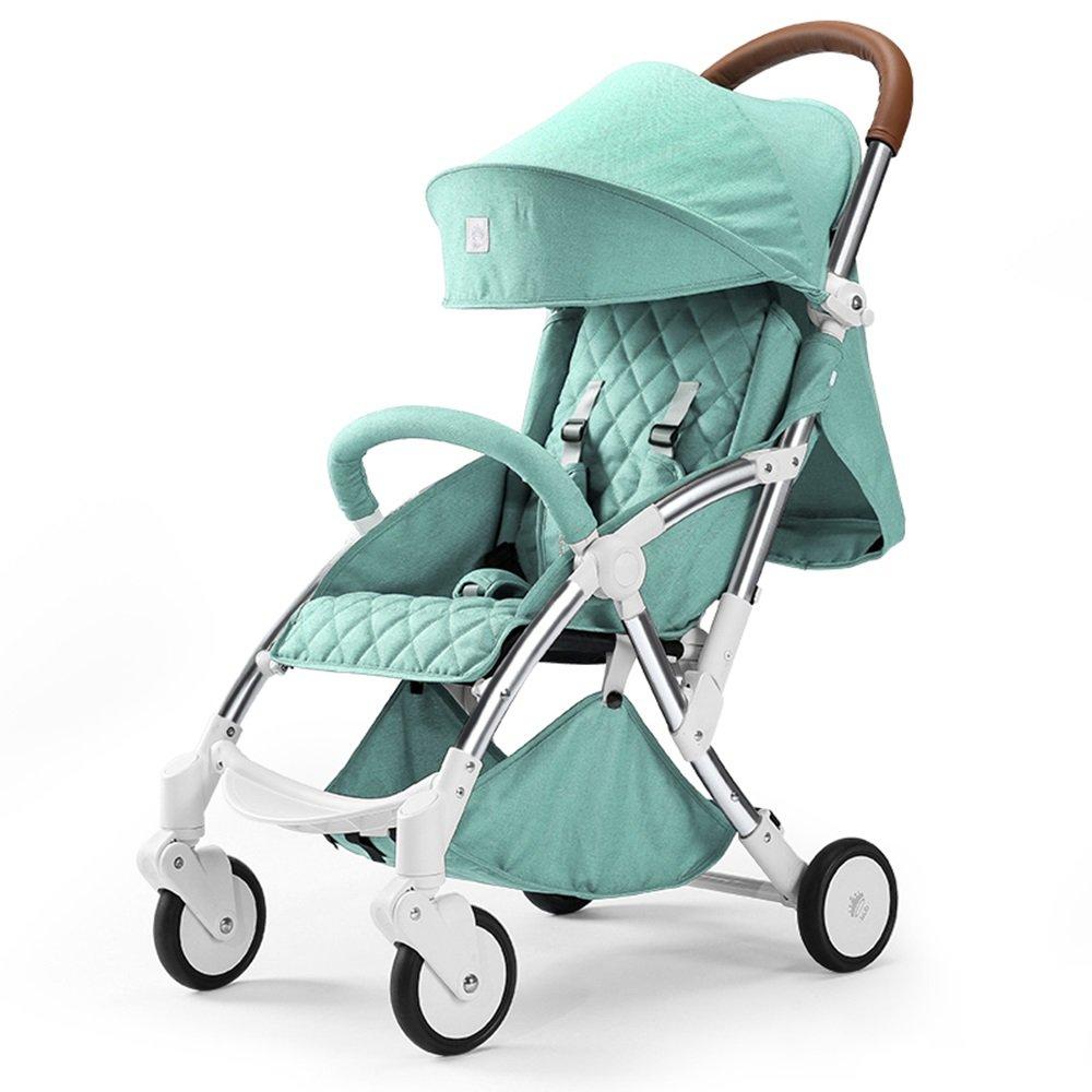 Kinderwagen Baby Trolley Light Folding kann nehmen ein Kind kann vierrädrigen Stoßdämpfer Auto liegen Einfach zu verwenden (Farbe : Hellblau)