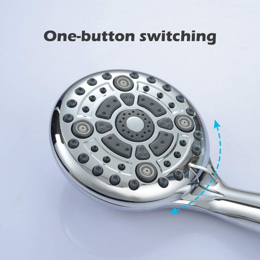 Homelody Universal Duschkopf 6 verschiedenen Strahlarten Handbrause mit mit Stopp Taste Wassersparend Duschbrause Chrom Hochdruck Massagebrause