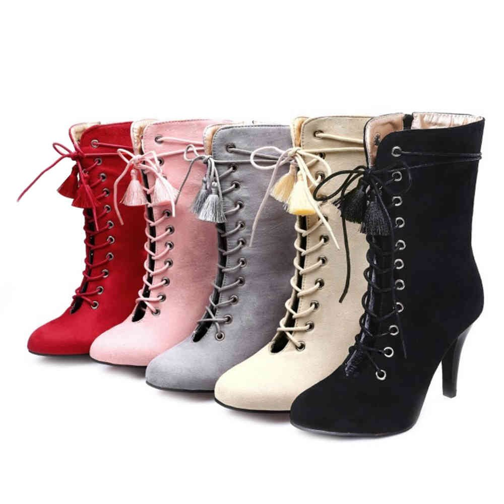 6300ea6454 SJJH Women Boots with Kitten Heel and Lace up Sexy Hollowed-Out Boots with Large  Size and 5-Colors Available: Amazon.co.uk: Shoes & Bags