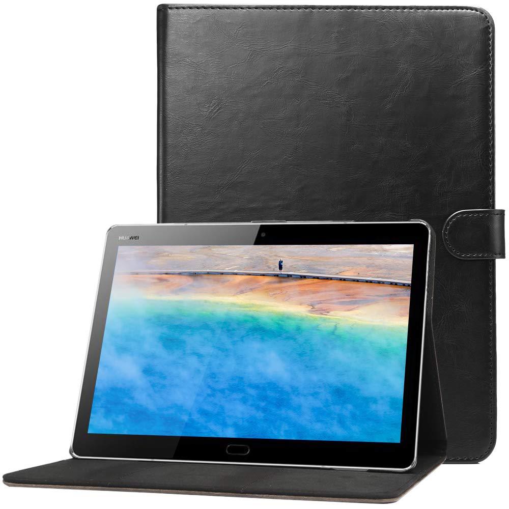 Huawei MediaPad M3 Lite 10.1インチと互換性のあるCLMテックケース、スタンド機能付きウォレット合成皮革フリップカバーとカードスロット、ブラック   B07LFVXXBH