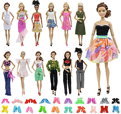 Barbie Style Doll Fashion (ZITA ELEMENT Lot 10 Set Mix Style Fashion Handmade Clothes Outfit + 10 Pairs Shoes for Barbie Doll XMAS GIFT)