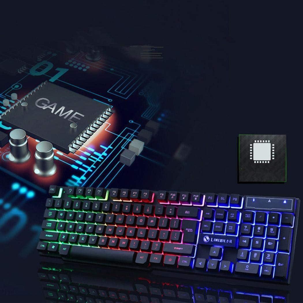 ROCONAT Juego Retroiluminación LED mecánica para PC Kit de Teclado con Mouse USB con Cable Accesorios de informática