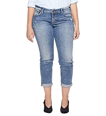 f2355d08 Silver Jeans Co. Women's Plus Size Sam Mid Rise Boyfriend Jeans, Medium  Vintage New