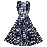 Women's Vintage 1950's Floral Party Cocktail Rockabilly Swing Dress (Polka Dot Blue,Size 2XL)