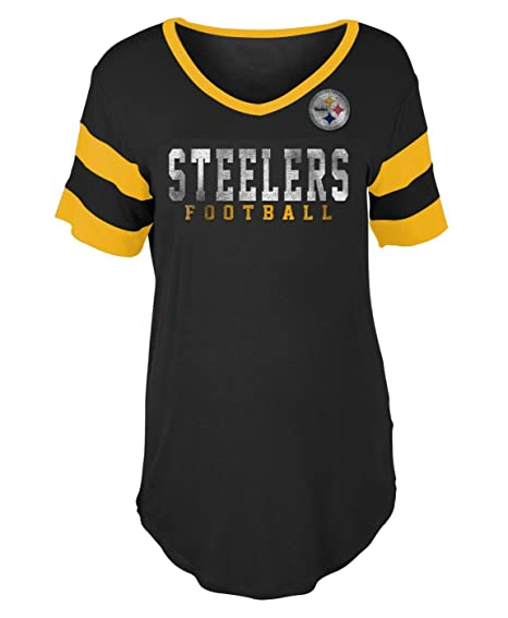 New Era Pittsburgh Steelers Women s Double Stripe Short Sleeve V-Neck  T-Shirt X eec88ffd2