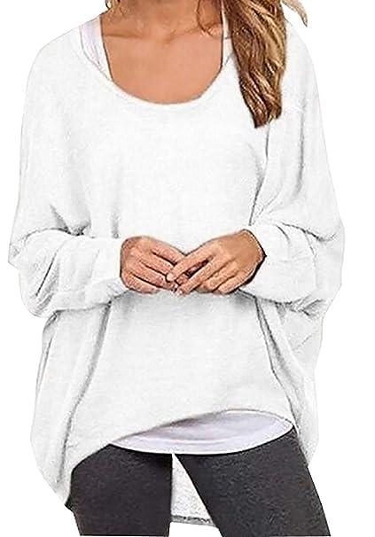 Laisla fashion Sweatshirts Mujer Manga Larga Cuello Redondo Irregular Asimetricos Sudaderas Camisas Mujer Anchos Clásico Ocasional Unicolor Pullover Shirts ...