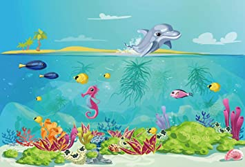 15x10ft Vinyl Cartoon Underwater World Happy Birthday Photography Background Seaweed Fish Water Background Boy Girl Birthday Backdrop Cake Table Banner Party Decorations Photobooth Prop