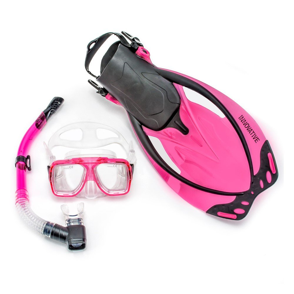 Innovative Scuba Concepts MSF4642 REEF, Adult Snorkel Set, Mask, Fins, Snorkel and Bag