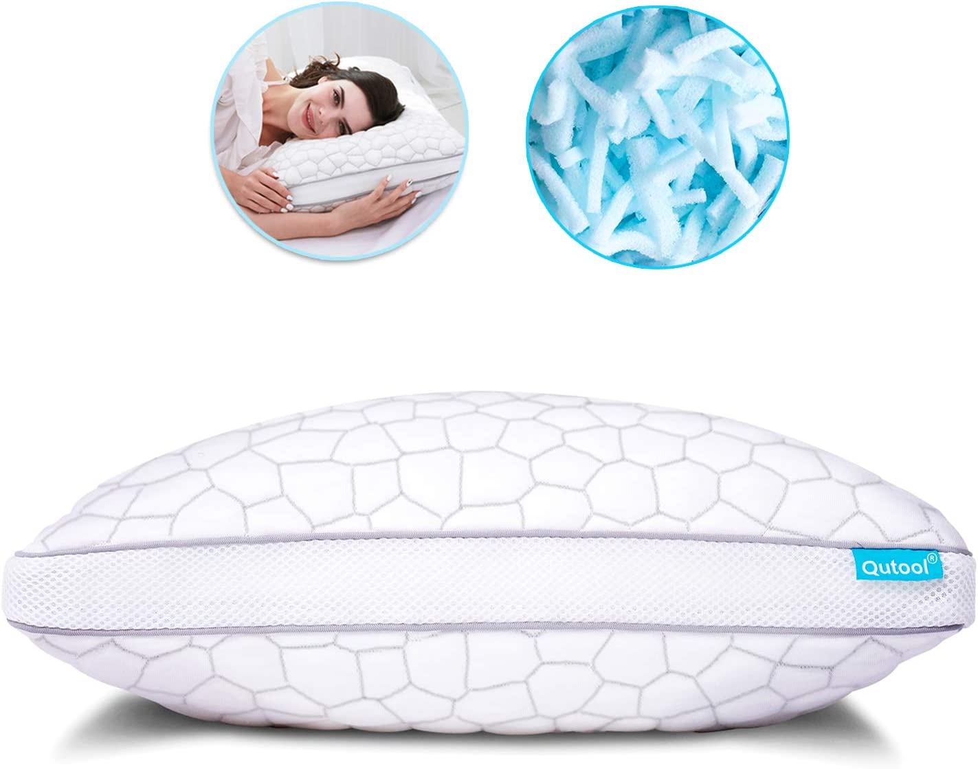 Shredded Memory Foam Pillows for Sleeping, Bamboo Cooling Pillow with Ajustable Loft - Hypoallergenic Bed Pillow for Side and Back Sleepers with Washable Removable Cover Queen Size 1-Pack
