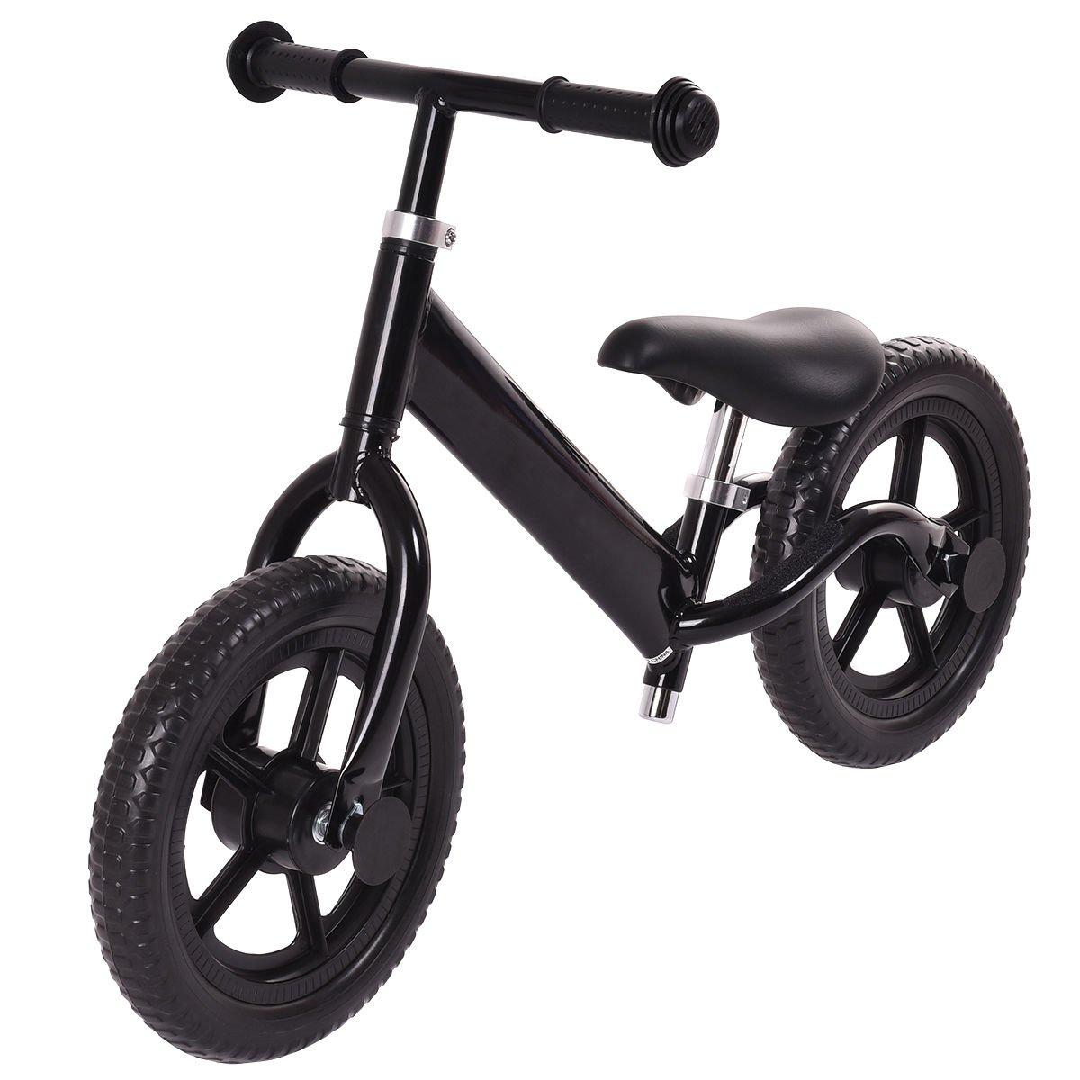 Costzon 12'' Classic No-Pedal Balance Bike Walking Bicycle for Kids Age 2-7 w/Adjustable Seat (Black)