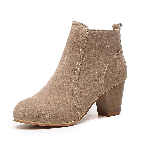 Custome Mujer Tacones Zapatos Invierno Calentar Botines para Moda Botas Martin Mujer: Amazon.es: Zapatos y complementos