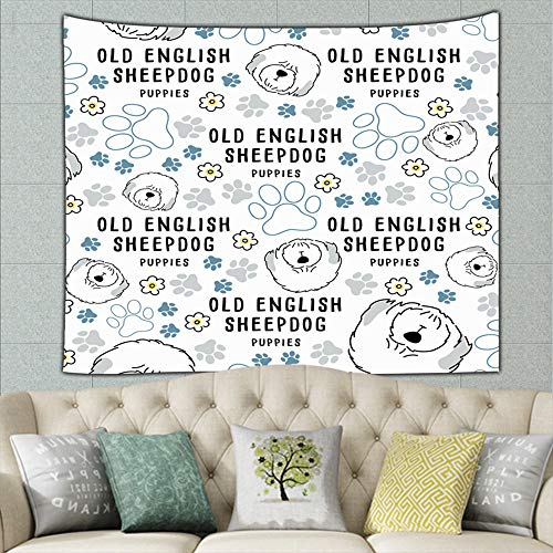 old english sheepdog dog breed collection animals wildlife adorable Tapestry Wall Hanging, Hippie Sunset Forest Tapestry, Wall Art Decoration for Bedroom Living Room Dorm, Window Curtain Picnic Mat 80