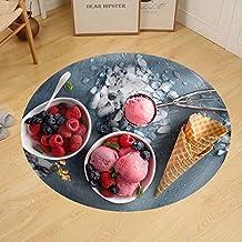 Gzhihine Custom round floor mat Raspberry Ice Cream in White Bowl Overhead Shot
