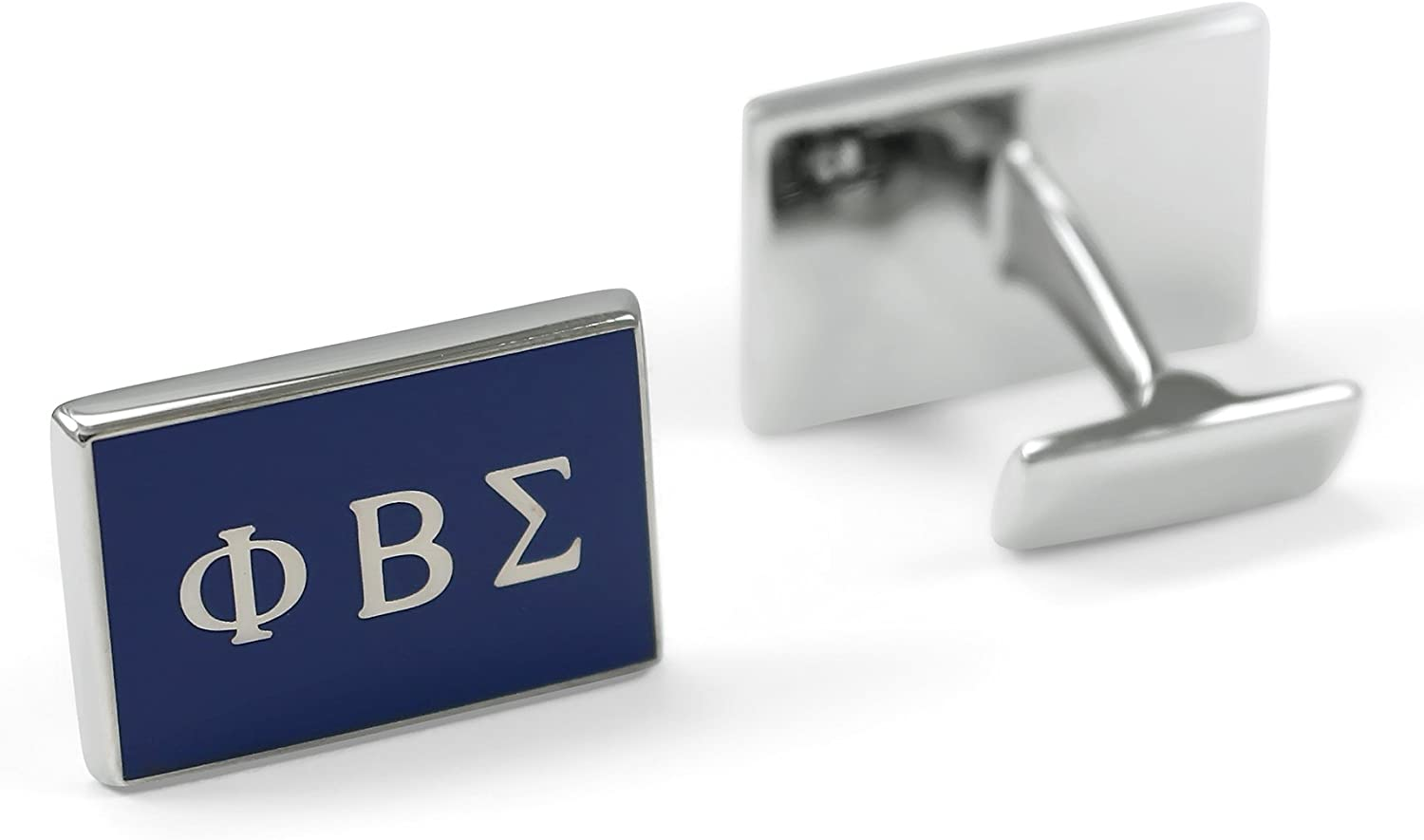 The Collegiate Standard Phi Beta Sigma Fraternity Cufflinks with Greek Letters and Royal Blue Enamel