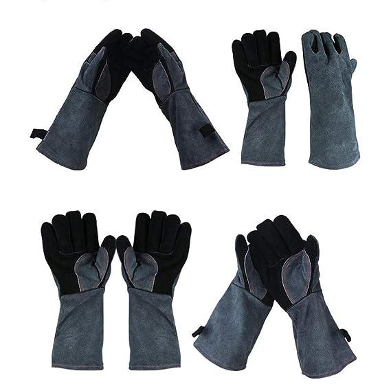 Guantes para soldar para Barbacoa, 932 ° F Fuego/Guante Resistente al Calor para la Parrilla/Olla/Soldador TIG/MIG/Estufa/Chimenea/Barbacoa/Horno/Estufa de ...