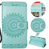 Stysen Galaxy S5 Wallet Case,Galaxy S5 Floral Case,Pretty Elegant Embossed Totem Flower Pattern Green Bookstyle Magnetic Closure Pu Leather Wallet Flip Case Cover with Wrist Strap and Stand Function for Samsung Galaxy S5-Totem Flower,Green