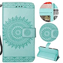 Stysen Galaxy A6 Plus 2018 Wallet Case,Galaxy A6 Plus 2018 Floral Case,Pretty Elegant Embossed Totem Flower Pattern Green Bookstyle Magnetic Closure Pu Leather Wallet Flip Case Cover with Wrist Strap and Stand Function for Samsung Galaxy A6 Plus 2018-Totem Flower,Green