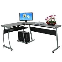 Modrine Computertisch Beweglicher PC Tisch Schreibtisch mit Keyboardständer und Rolle für Hause und Bürosarbeit
