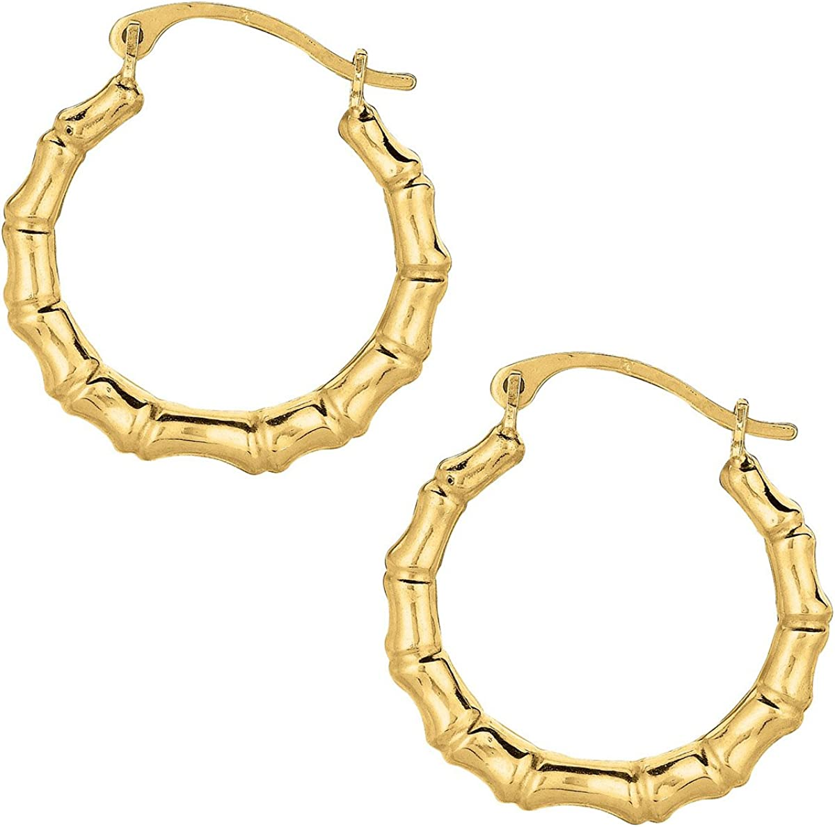 10k Yellow Gold Bamboo Hoop Earrings