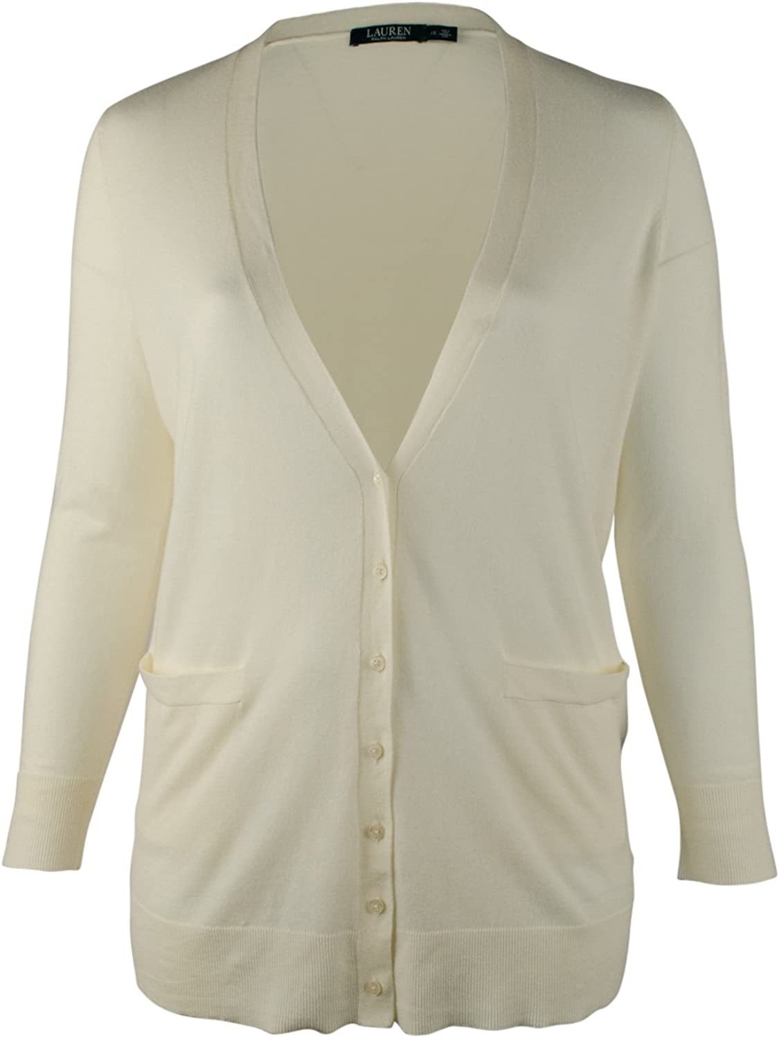 LAUREN RALPH LAUREN Womens Plus Ribbed Trim Cardigan Top Ivory 3X