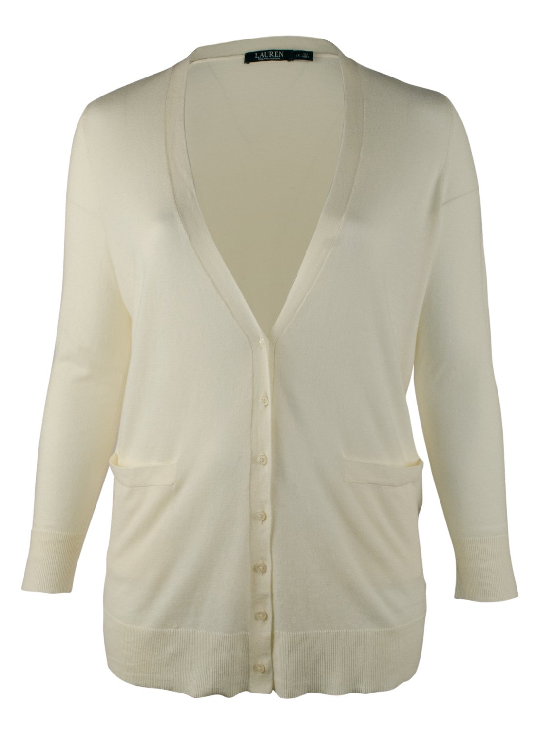 Lauren Ralph Lauren Womens Plus Ribbed Trim Cardigan Top Ivory 1X