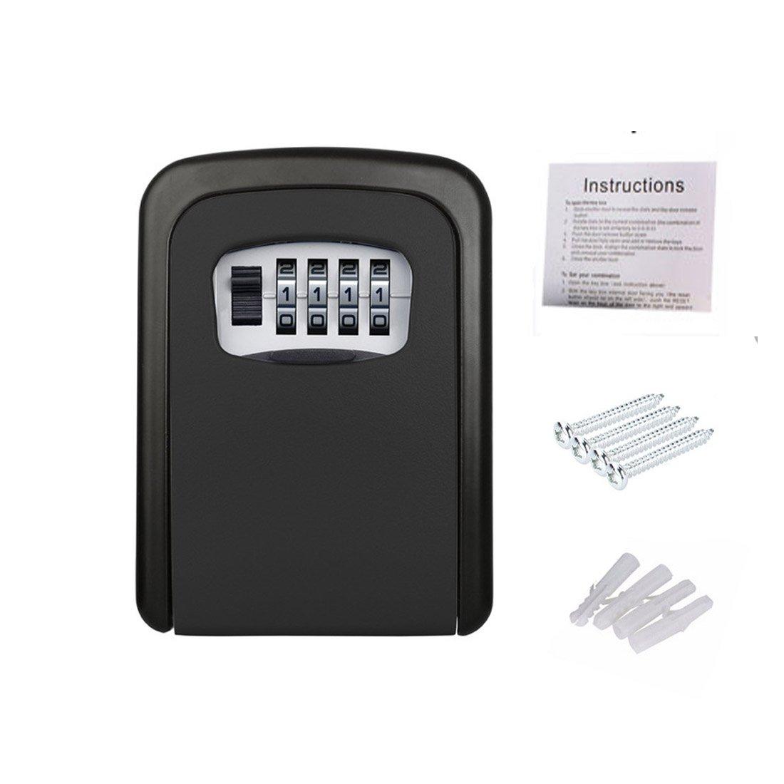 壁マウントされたストレージキーロックボックス可能4桁の組み合わせパスワードキーセーフボックスホームビジネス商業、Lockoutsのアクセスを提供し、緊急またはサービス担当者(ブラック) B07C7ZV1T3, 村岡町:9de598b7 --- plastiq.jp